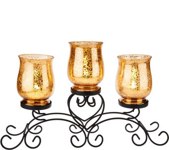 """As Is"" Iron Scroll Centerpiece with 3 Glass Hurricanes - H210963"