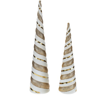 """As Is"" Dennis Basso Set of 2 Sequin Christmas Trees - H211063"