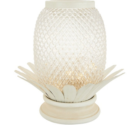 "10"" Illuminated Glass Pineapple w/ Metal Accents by Valerie"