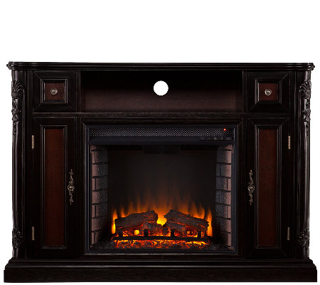Hendrix Media Console/Stand Electric Fireplace,Ebony Finish