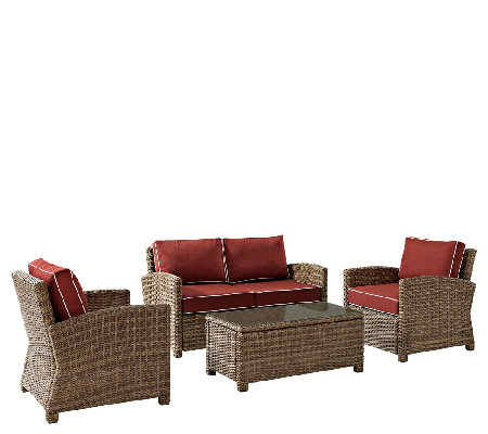 Crosley Bradenton 4-Piece Wicker Set w/Table Chairs & Cushion