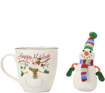 Pfaltzgraff Winterberry Mug with Stuffed Snowman Ornament - H287163