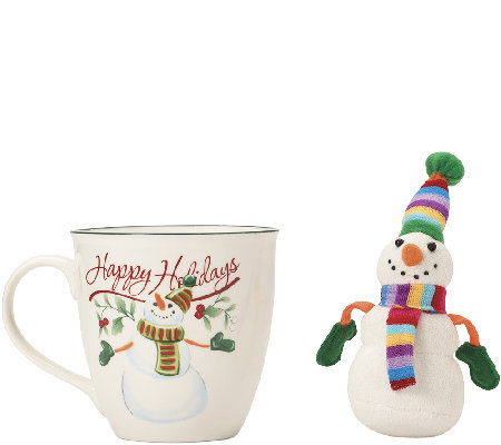 Pfaltzgraff Winterberry Mug with Stuffed Snowman Ornament