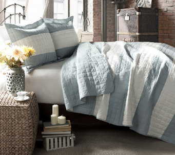 Berlin Stripe Blue 3-Piece Full/Queen Quilt Set by Lush Decor - H287263