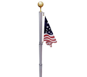 Annin American Flag and In-Ground Telescoping Flagpole Set - H288763