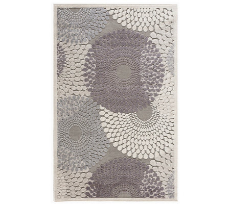 "Nourison Graphic Illusions Grey 3'6"" x 5'6"" Area Rug"