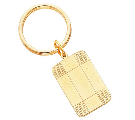 Goldtone Satin Patterned Corner Key Ring