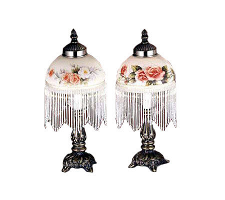 Meyda Tiffany Styled Lamp with Painted Shade &Glass Fringe