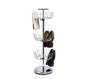 Household Essentials 3-Tier Revolving Shoe Tree- Chrome - H142564