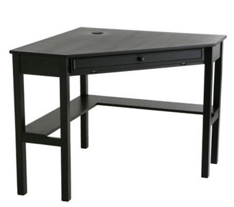 Lawrence Black Finish Corner Desk with KeyboardDrawer - H155564