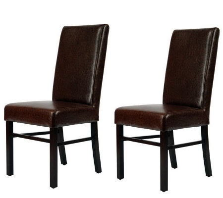 Set of Two Plush Bicast Leather and Birchwood Side Chairs