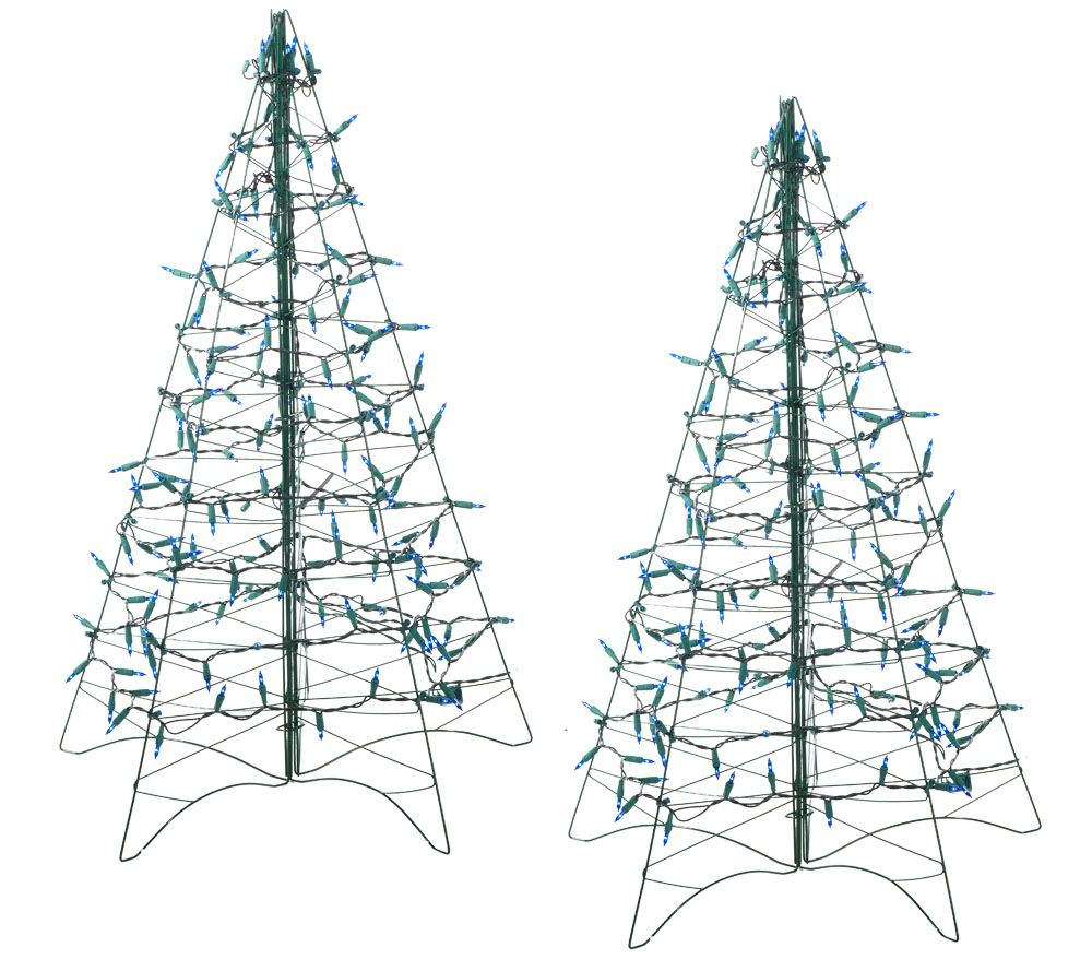 S/2 Pre-Lit 3' Fold Flat Outdoor Christmas Trees by Lori Greiner ...