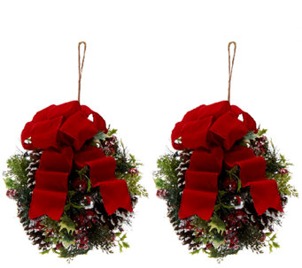 Set of 2 Iced Pine Kissing Balls By Valerie - H203864
