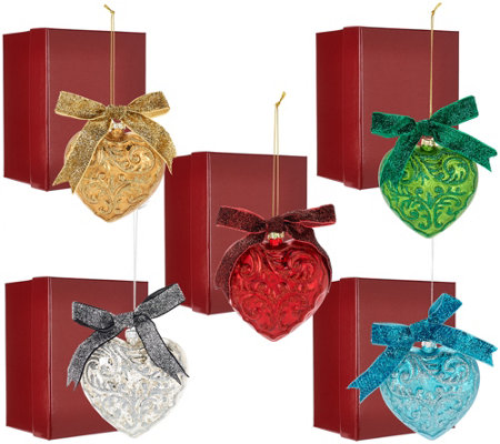 Set of 5 Embossed Heart Ornaments with Gift Boxes by Valerie