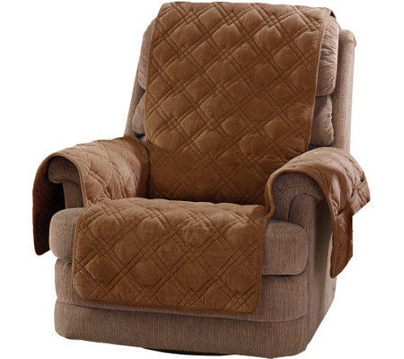 Sure Fit Plush Comfort Recliner Furniture Cover w/Non-Skid Back