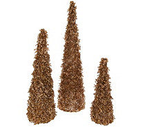 Set of 3 Graduated Glistening Iced Crystal Trees - H209564