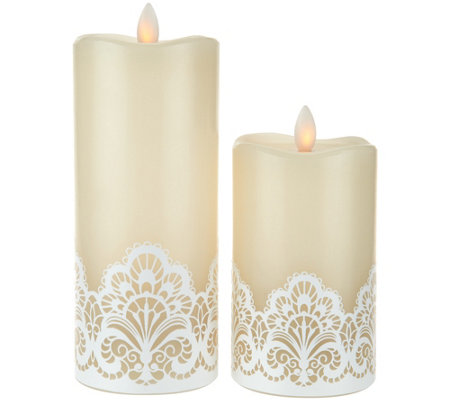 Set of 2 Mirage Candles with Lace Design by Candle Impressions