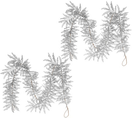 """As Is"" Set of 2 5"" Glitter Leaf Garlands by Valerie"