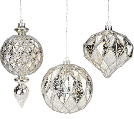 """As Is"" Kringle Express Set of 3 Lit Indoor/ Outdoor Ornaments"