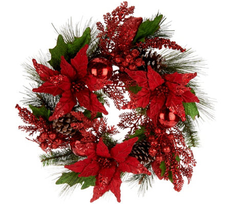 """As Is"" 21"" Poinsettia, Ball and Cone Wreath by Valerie"