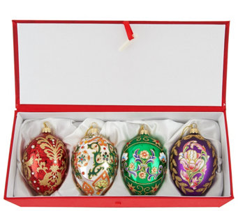 """As Is"" Joan Rivers 2016 S/4 Russian Inspired Egg Ornaments - H211064"