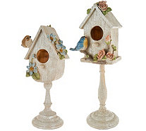 """As Is"" Set of 2 Birdhouses on Pedestals by Valerie - H212464"