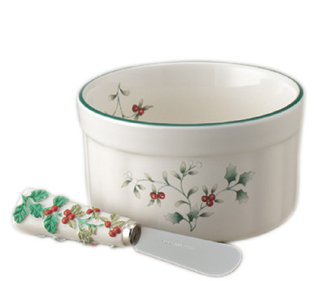 Pfaltzgraff Winterberry Dip Mix Set, Ramekin &Spreader