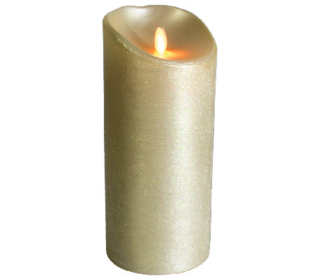 "Luminara 7"" Spun Metallic Ivory Flameless Candle"