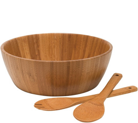 Lipper Bamboo Salad Bowl with Servers, 3-PieceSet