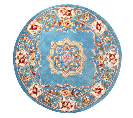 "Royal Palace Elegant Medallion 4'6"" Round Wool Rug"