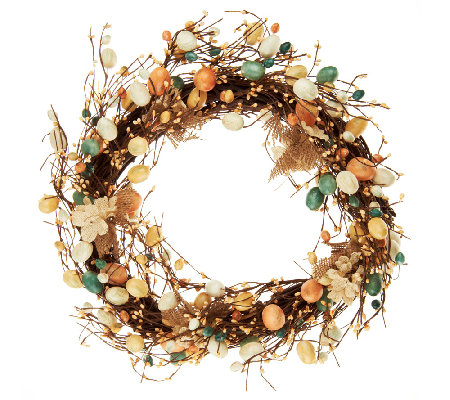 Spring Wreath w/ Eggs & Burlap Flowers by Valerie