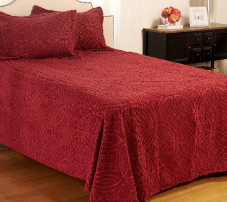 Wedding Ring Chenille 100% Cotton Twin Bedspread with Sham