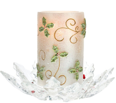"""As Is"" Flameless Glitter Candle w/ Holly Glass Base by Valerie"