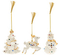 Lenox Set of 3 Porcelain Ornaments w/ Crystals and Gift Boxes - H208465