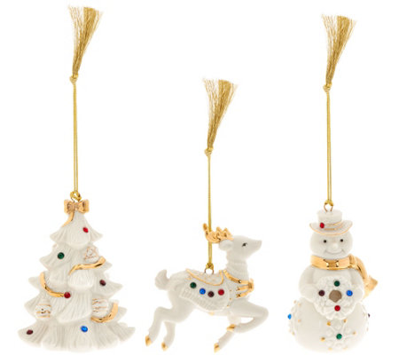 Lenox Set of 3 Porcelain Ornaments w/ Crystals and Gift Boxes