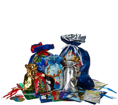 Kringle Express 74 Piece EZ Drawstring Gift Bag Set with Tags