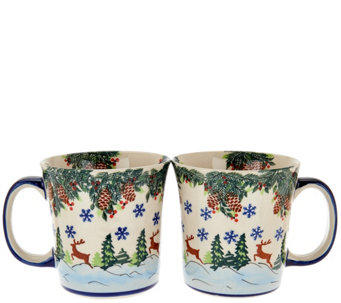 Lidia's Polish Pottery Handmade Set of 2 Mugs - H208865