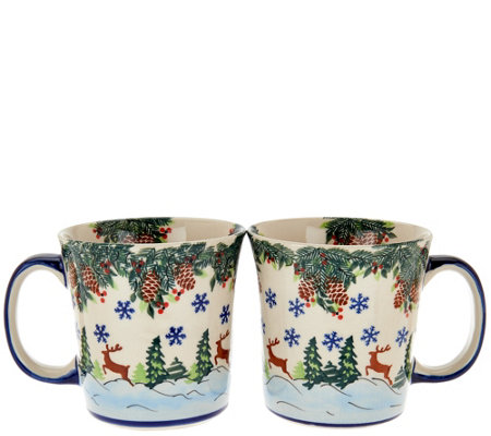 Lidia's Polish Pottery Handmade Set of 2 Mugs