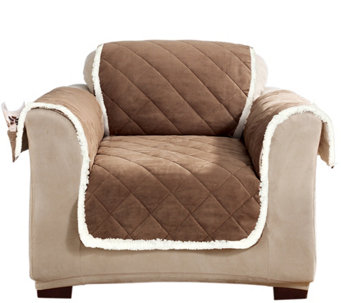 Sure Fit Reversible Suede-to-Sherpa Chair Furniture Cover - H209465
