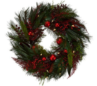 "ED On Air 24"" Mixed Pine Wreath w/ Ornaments by Ellen DeGeneres - H209565"