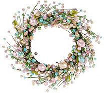 "17"" Pastel Beaded Egg Wreath - H210865"