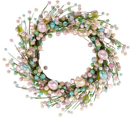 "17"" Pastel Beaded Egg Wreath"