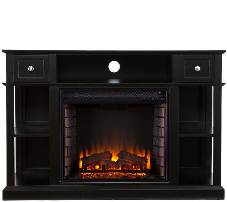 Wilson Media Console/Stand Electric Fireplace,Black