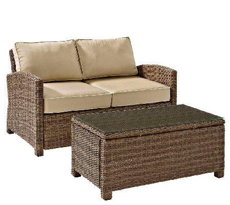 Crosley Bradenton 2-Pc Wicker Seating Set withCushions