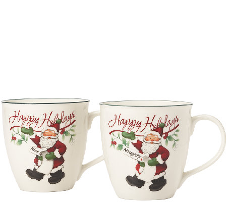 Pfaltzgraff Winterberry Naughty and Nice Mug -Set of 2