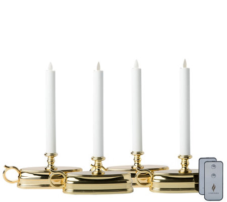 Luminara Set of 4 Colonial-Style Window Candles& 2 Remotes