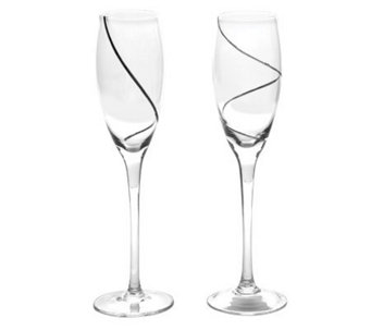 Silvertone Swirl Glass Toasting Flutes - H348965