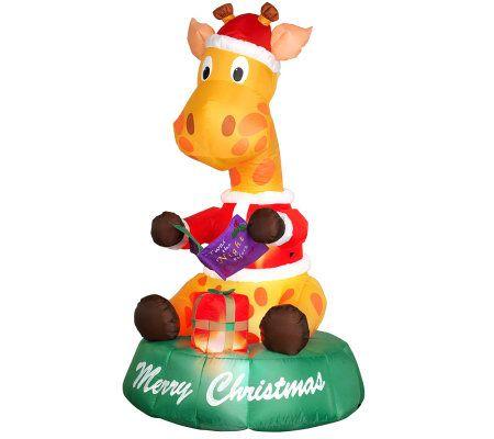 6' Air-Blown Christmas Giraffe - Page 1 — QVC.com