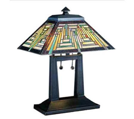 "Tiffany Style 16"" Oblong Southwest Mission Table Lamp"