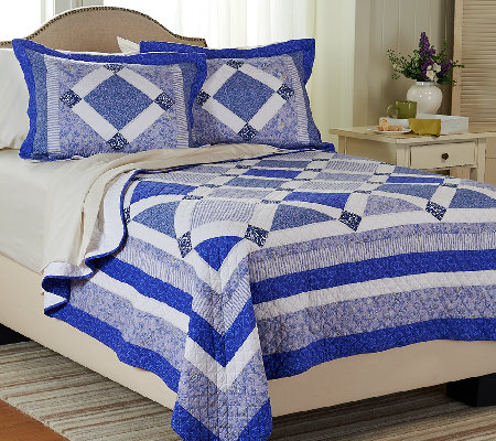 Blue Bell Twin 100% Cotton Quilt Set with Sham